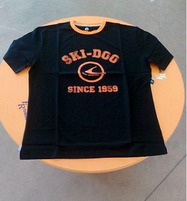 T-shirt skidoo nera logo arancio